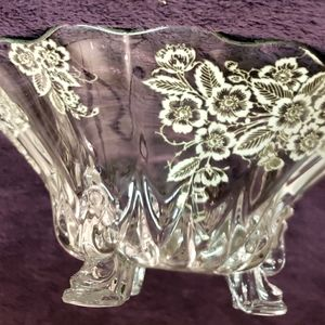 Silver etched serving bowl